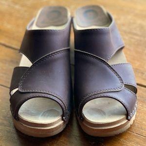 Troentorp brown leather clog slide sz 38